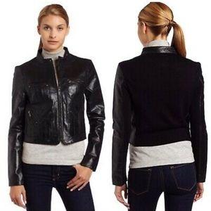BCBGMAXAZRIA Black Leather Cropped Jacket size XS